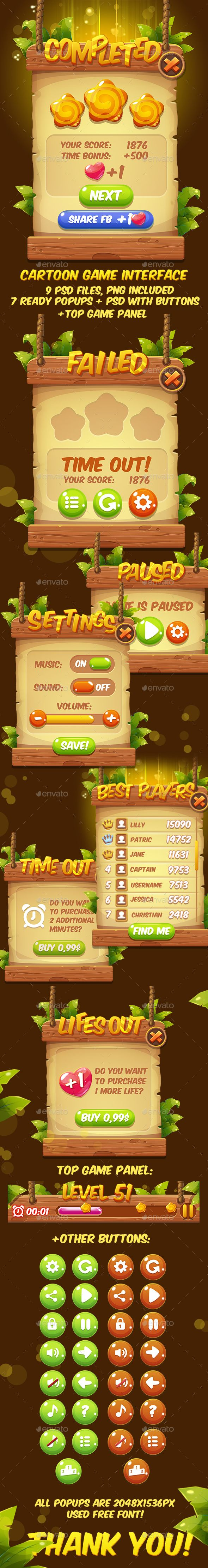 Fantasy Cartoon Game Interface — Photoshop PSD #colorful #mobile • Available here → https://graphicriver.net/item/fantasy-cartoon-game-interface/16488013?ref=pxcr
