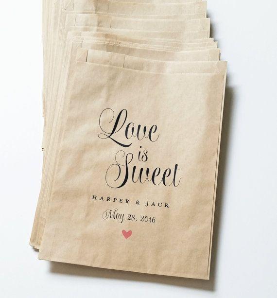 Love is Sweet Wedding Candy Buffet Kraft Favor Bags