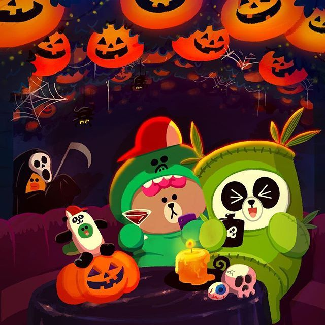 "Pals, thanks to you all, my costume of this Halloween seems to be the ""wormest"" #halloweencostume this year!!! Join us in this adorable #halloweenparty !! #happyhalloween @pangyo.linefriends in his favorite #bamboo costume"