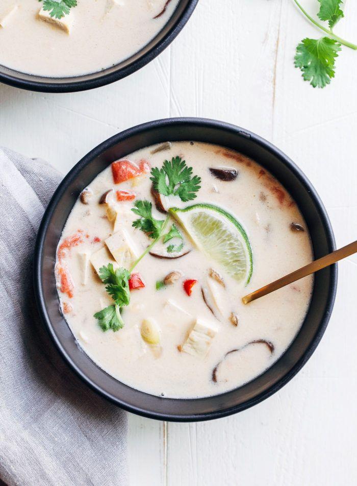 Vegan Tom Kaa Gai- a delicious Thai coconut milk soup that only takes 30…