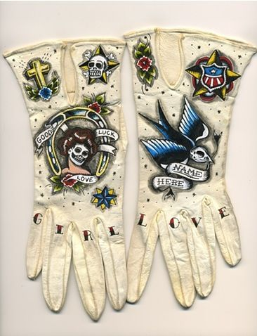 Tattoo Cream Leather Gloves - i need to have these! #fashion #style