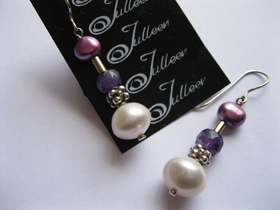 12 mm White Pearl and Amethyst Sterling Silver Earring