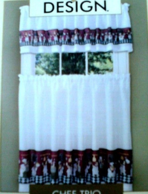 FAT ITALIAN FRENCH CHEF TODAYS MENU Red Blk White Kitchen Curtains Tiers  Valance #InteriorsbyDesign | Ebay | Pinterest | Curtains, White Kitchens  And White ...