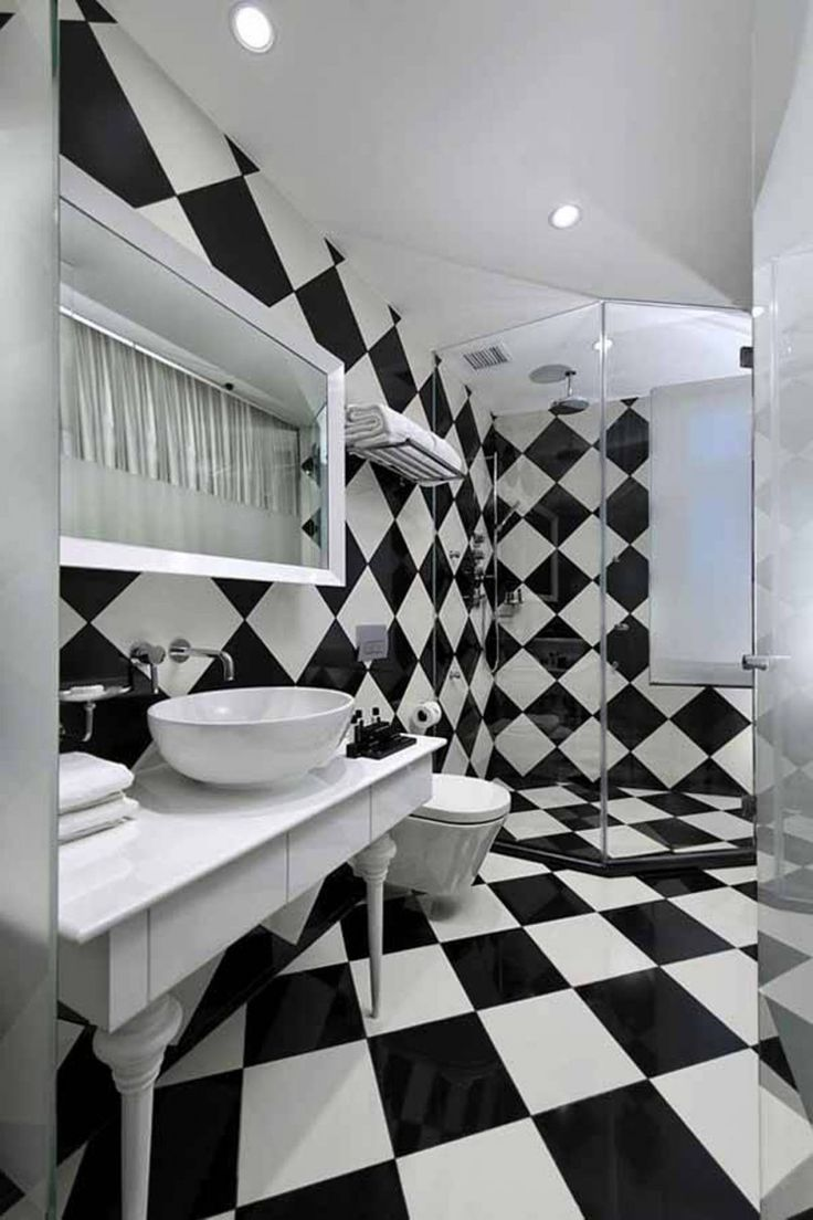Bathroom designs black and white - Appealing Black And White Bathrooms Chess Black And White Bathroom Decorating Black And White Black And