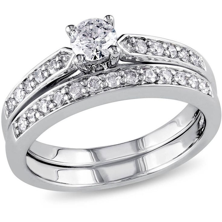 Spectacular Buy Miabella Carat T W Diamond Sterling Silver Bridal Ring Set at Walmart