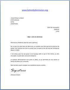 Modèle lettre de démission avec préavis