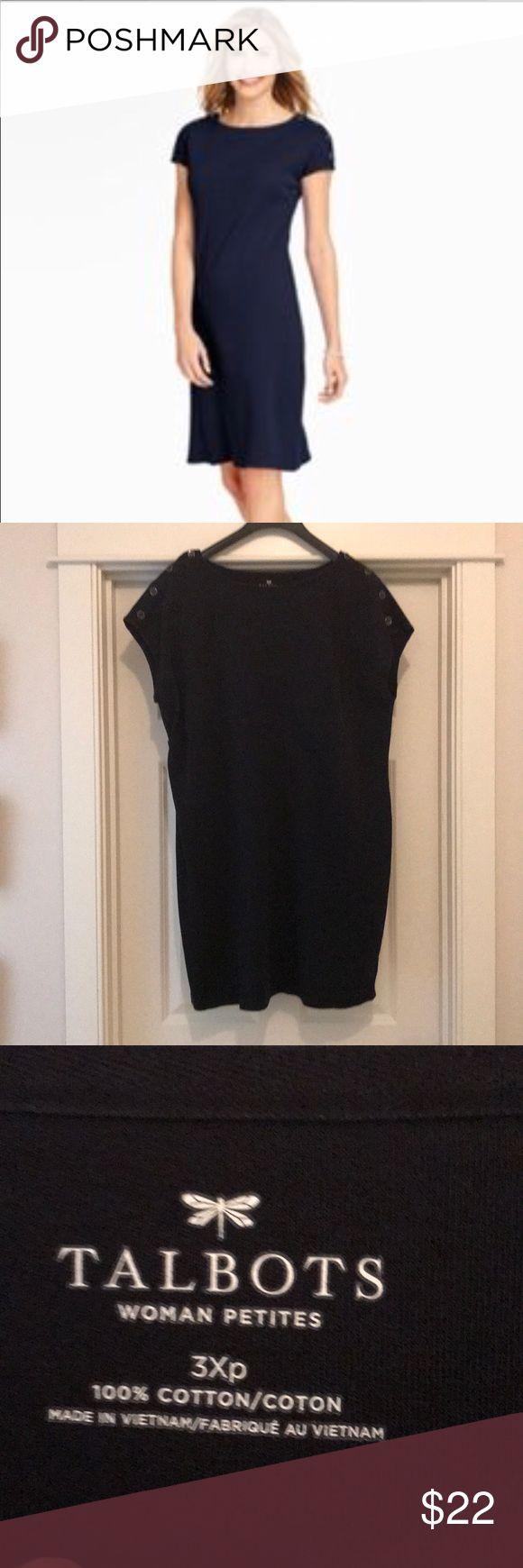 Talbot's Women's Plus Size 3X Petite This is the most adorable dark navy dress!  Talbot's Women's Plus Size 3X Petite!  Check out the buttons that go down each shoulder!  💯% cotton! Talbots Dresses Midi
