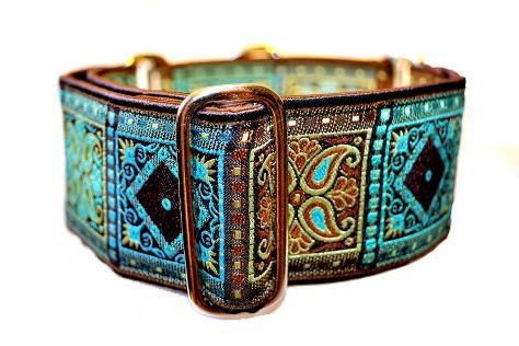 Cute doggy collar: Turquoise and Chocolate Squares Jacquard by TheHoundHaberdashery, $23.95