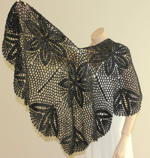 Hand Crocheted Sparkly Black Shawl / Women by BERRDESIGNS on Etsy, $110.00