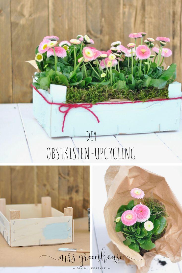 Blumengrüße in der Obstkiste – Frühlings-Upcycling-DIY