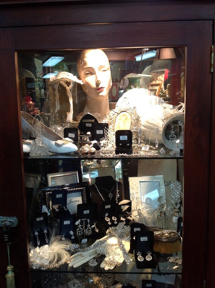 Cabinet full of amazing wedding jewellery brooches, earrings, bracelets, hair pieces come & let chiltons antiques help you find your perfect pieces for your wedding.