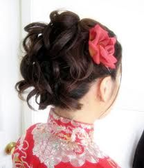 Big loose curls updo with rose. Chinese wedding.  Wedding Hairstyle