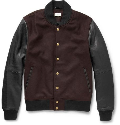 Club Monaco Leather and Wool-Blend Bomber Jacket    | MR PORTER