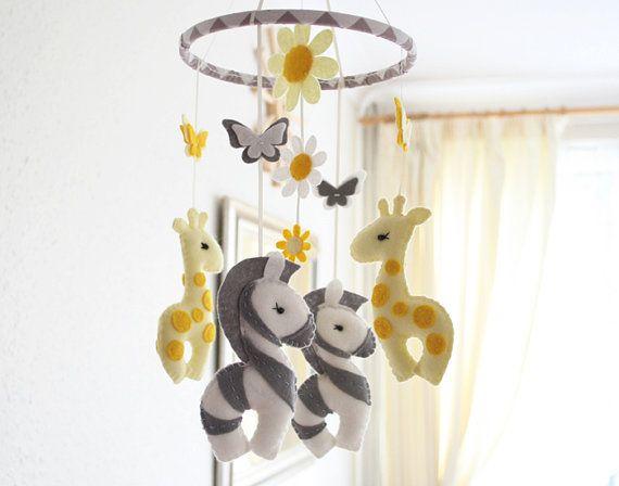 Nursery Mobile  Baby  Giraffe & Zebra Mobile  MADE by FlossyTots, £52.99