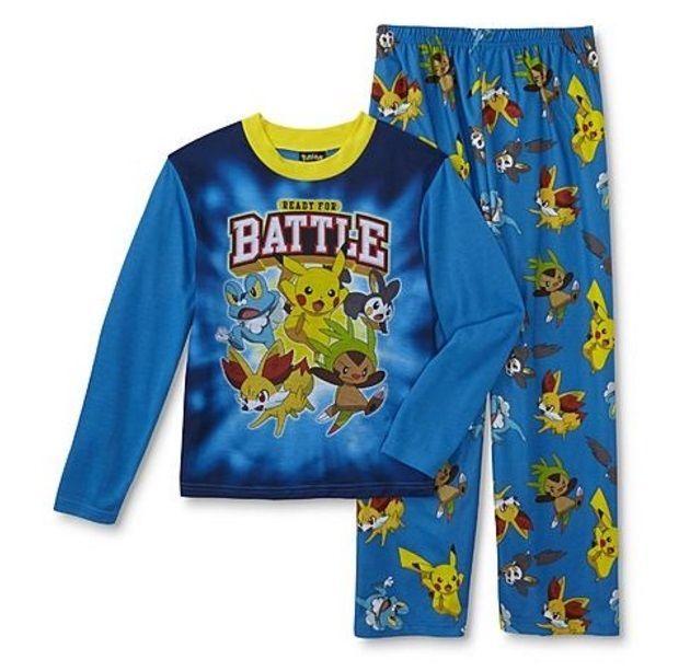 Pokemon PIKACHU Pajamas Boy's 10/12 NeW L/S Shirt and Lounge Pants Pjs Set NWT #AME #PajamaSets