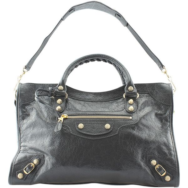 Pre-Owned Balenciaga Giant City Arena 12 Black Leather & GHW Shoulder... ($1,260) ❤ liked on Polyvore featuring bags, handbags, shoulder bags, grey, gray shoulder bag, balenciaga shoulder bag, shoulder handbags, gray handbags and leather purses