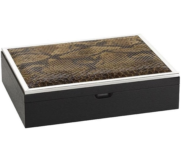 luxe designer brown python ebony amp silver jewelry box so