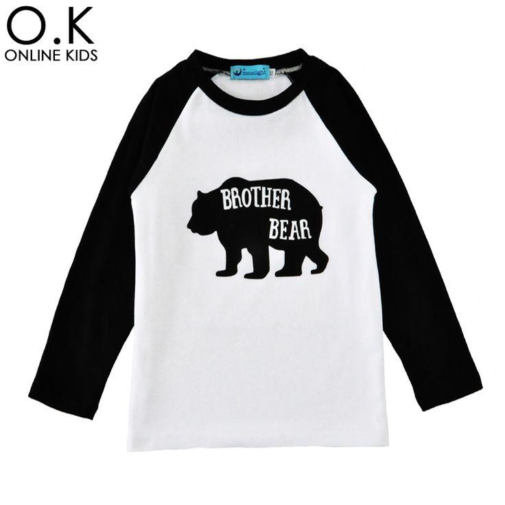 Малыш мальчик футболка мультфильм медведь с длинным рукавом детские мальчики девочки футболки 2017 осень симпатичные письмо брат медведь дети футболки одежда #jewelry, #women, #men, #hats, #watches