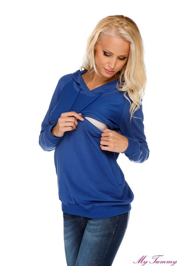 Bluza ciążowa Angie niebieska z kapturem