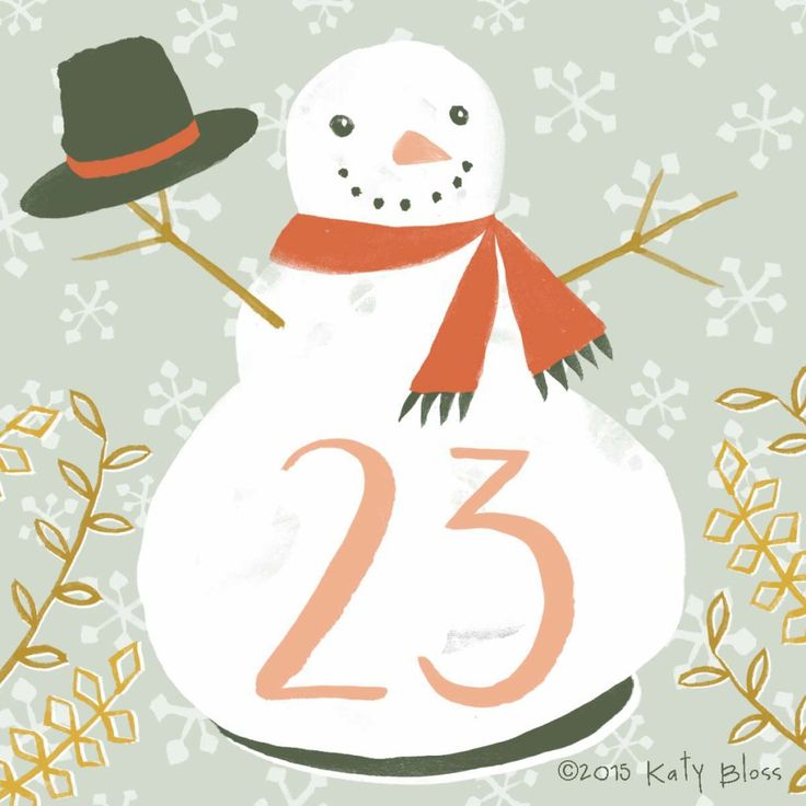 Happy watercolour snowman on day 23 of an illustrated advent calendar by Katy Bloss.