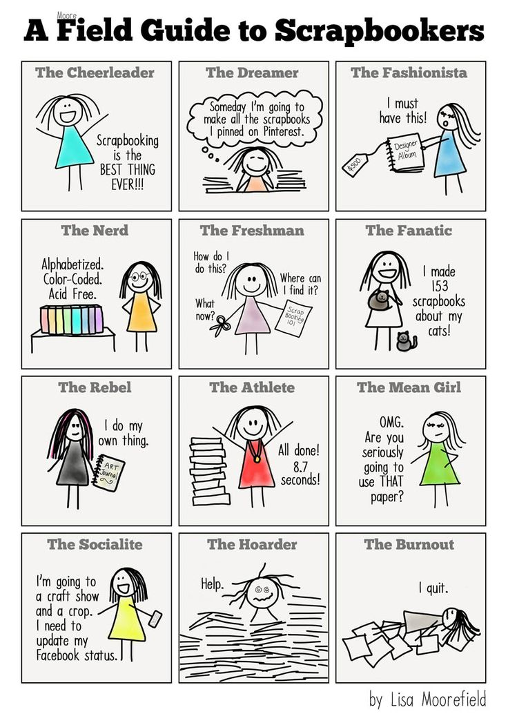 A Field Guide to Scrapbookers (comic) // Left-brainers love to categorize things!