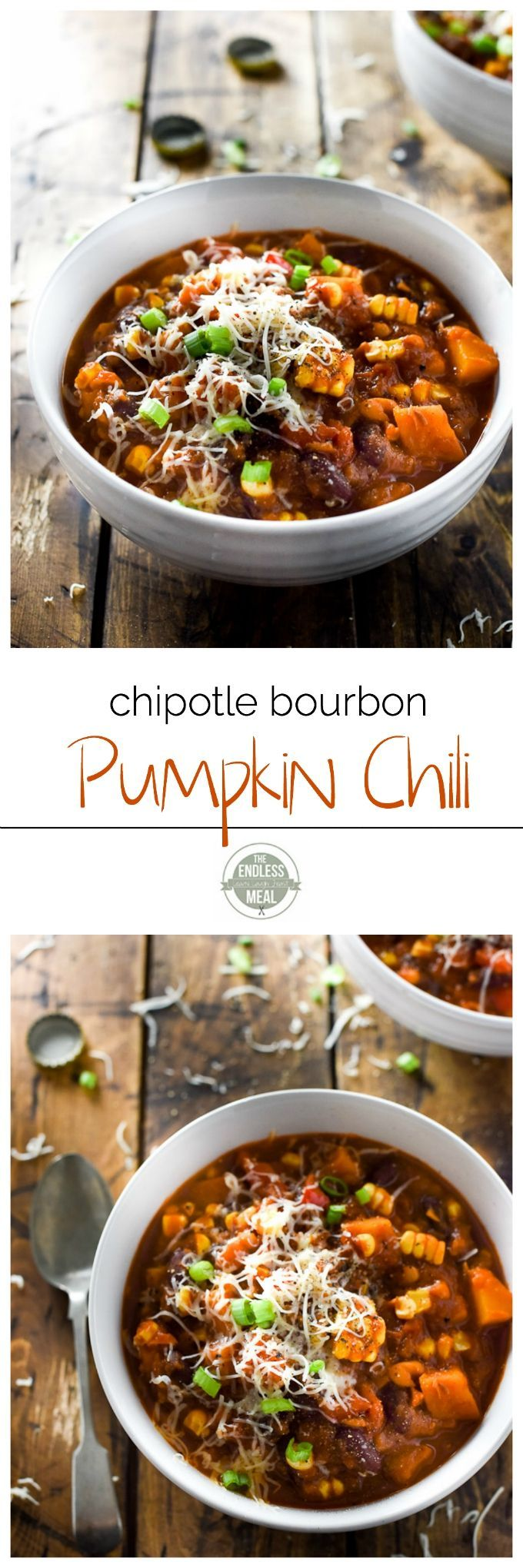 Chipotle Bourbon Pumpkin Chili is a delicious and easy to make fall dinner. | theendlessmeal.com