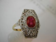 """French """"Pigeon Blood"""" Ruby & Diamond Ring"""