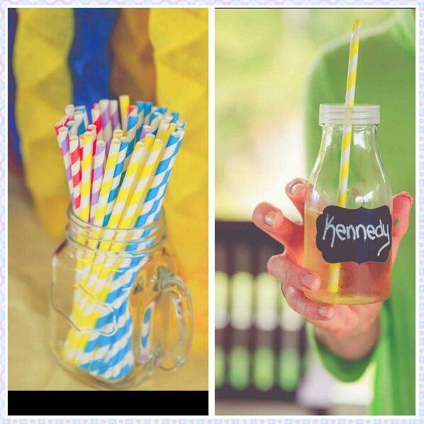 Plastic milk bottles with blackboard stickers & wiggles coloured paper straws