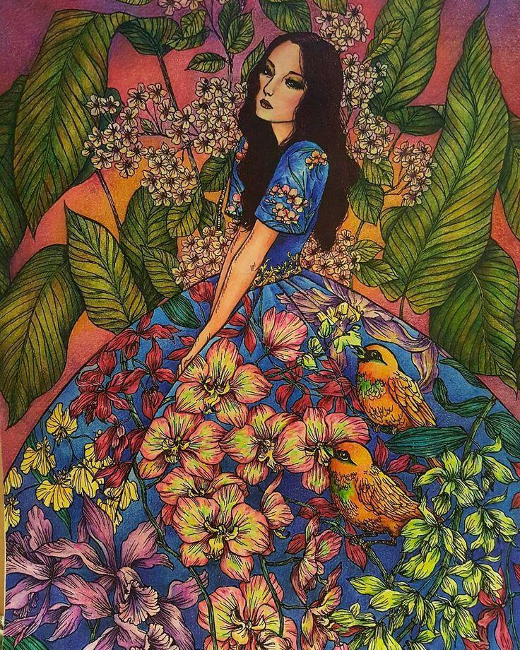 Book:Moon Blossoms (By Katrina Pallon) Medium:Faber Castell polychromos 60+ Derwent pastel pencil 36+Prismacolor premier