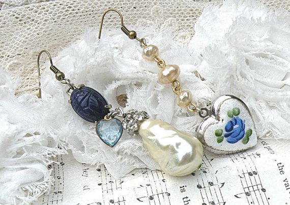 Mismatched Heart Earrings Assemblage Guilloche Style Upcycled Flea Market Jewelry Cottage Chic Charm Romantic