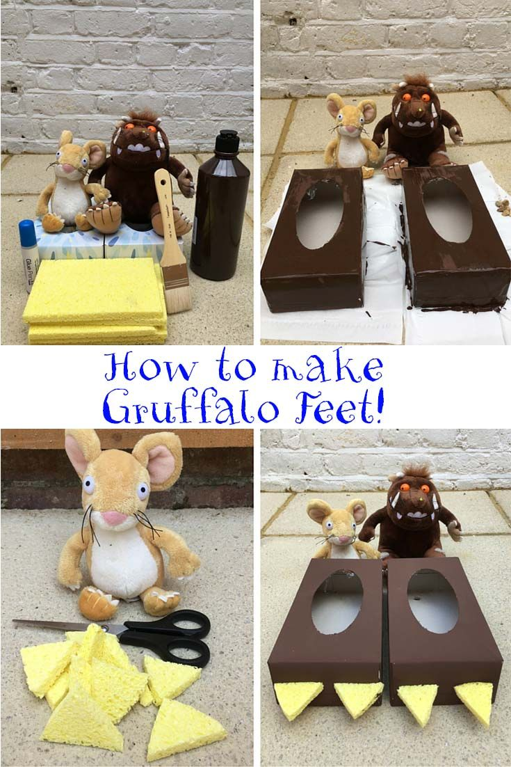 Would your little monsters love some monster feet? Well check out this crafting idea! 1.) Paint your 2 tissue boxes! Make sure to do this outside and place a cover on the floor to not get paint everywhere! Let them dry. 2.) Cut the toes using the sponge.  3.) Glue the toes onto the feet. A good old fashioned glue stick works, but the stronger the glue the more durable the toes! 4.) Let the little monsters roam around the house in their monstrous Gruffalo feet!