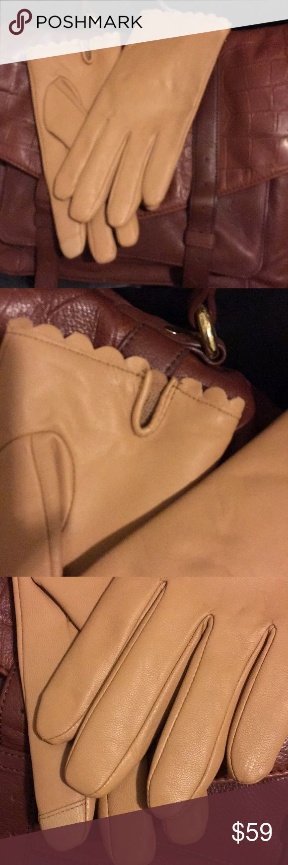 The Camel Glove Test! Leather gloves, scalloped edge, cell sensitive finger, a soft leather, cold nope! Banana Republic Accessories Gloves & Mittens