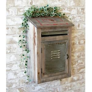 wooden mailbox with metal
