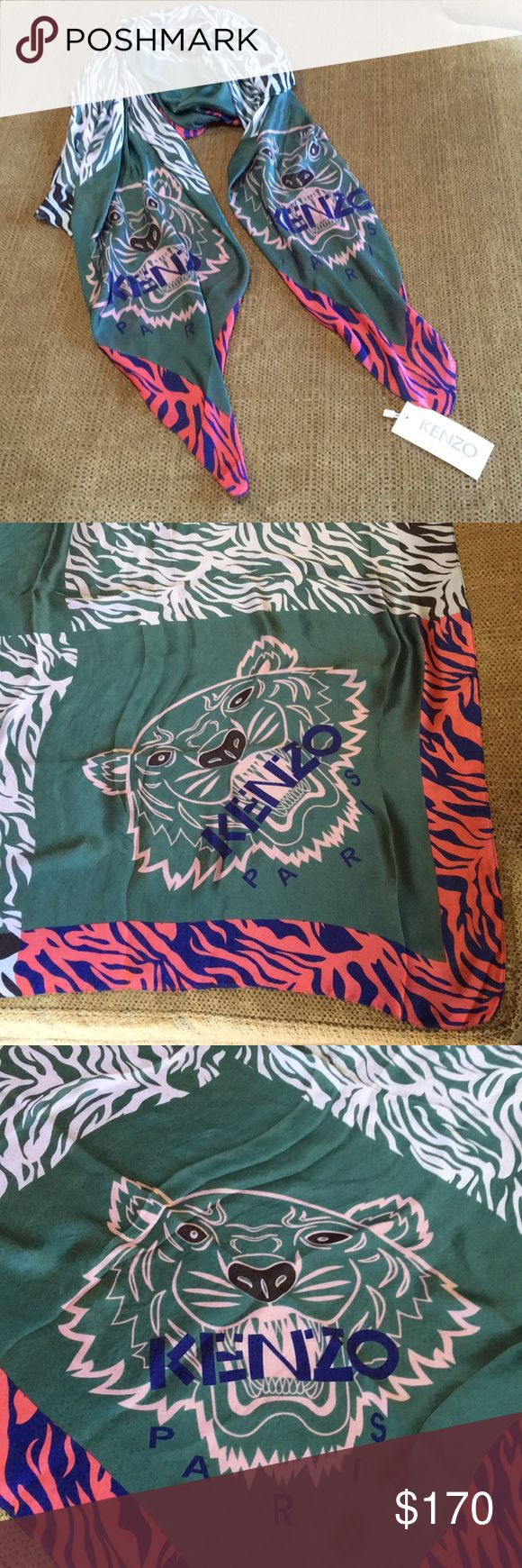 """KENZO Large Silk Tiger Scarf New with Tags  Kenzo Paris Large Silk Tiger Scarf. Multicolor Geo Print. Approx. measurements: w: 38"""" by l: 90"""" inches   New with Tags. All questions and inquiries welcome. Kenzo Accessories Scarves & Wraps"""