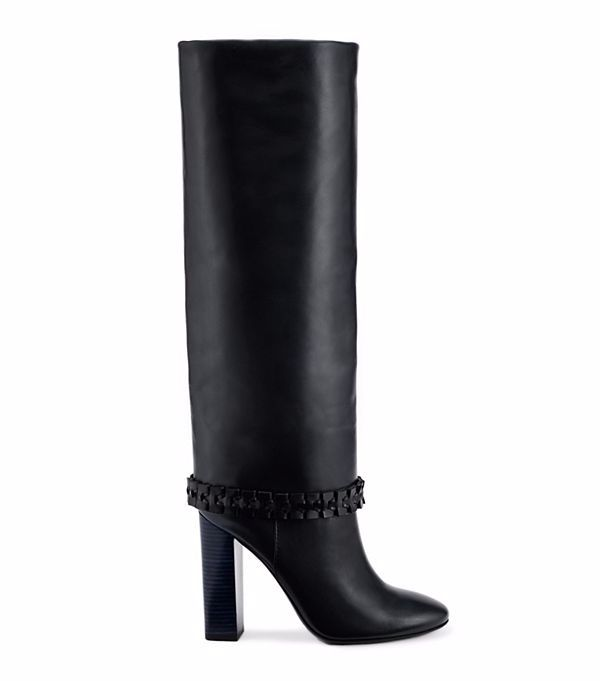 Tory Burch: Sarava Boot for € 725,00. Black boots with high heels. See more boots at http://justbestylish.com/the-best-boots-of-this-season/