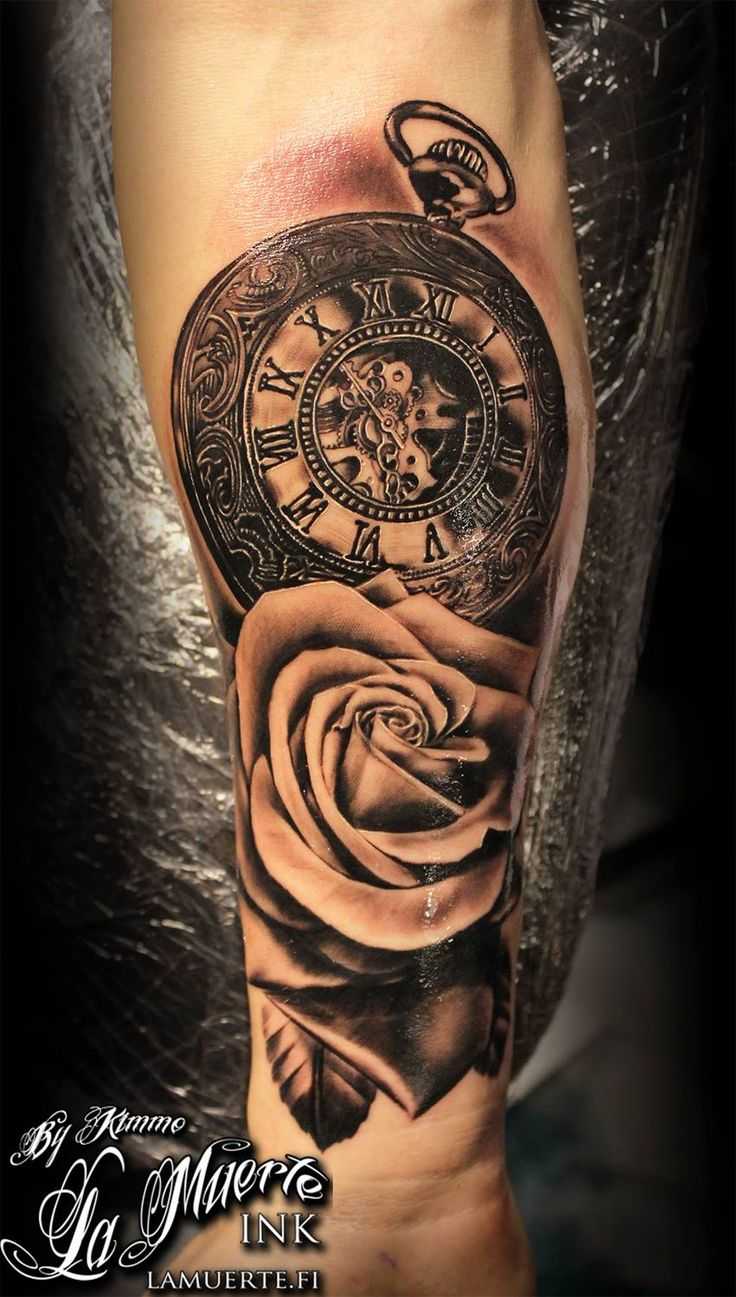 2017 01 badass sleeve tattoo designs - Pocket Watch And Rose By Kimmo Angervaniva