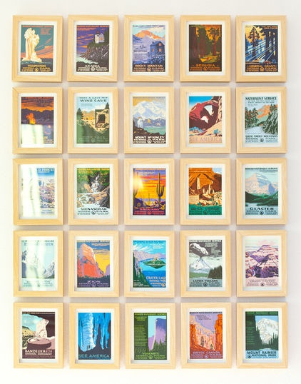 Fun, colorful and often cheap, vintage postcards are a great way to create an art wall on a tiny budget. For the most visual impact, try sticking to a theme, such as beach towns, national parks or cards from a certain era.