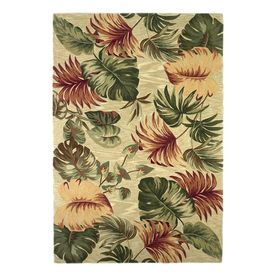 Kas Rugs Floral Trends Ivory Rectangular Indoor Tufted Tropical Area R