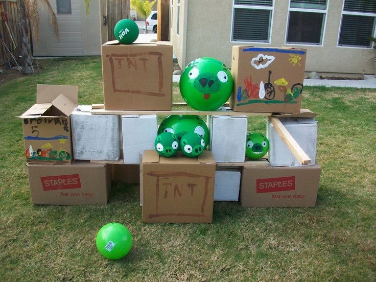 17 best angry bird party ideas images on pinterest bird party angry bird game just get a whole bunch of empty boxes and paint the green solutioingenieria Images