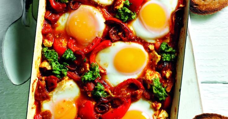 Shakshuka with feta and green salsa - quick one pot by Simon Rimmer