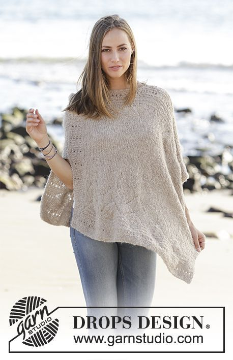 Knitted poncho with lace pattern in DROPS Alpaca Bouclé. Sizes S - XXXL. Free pattern by DROPS Design.