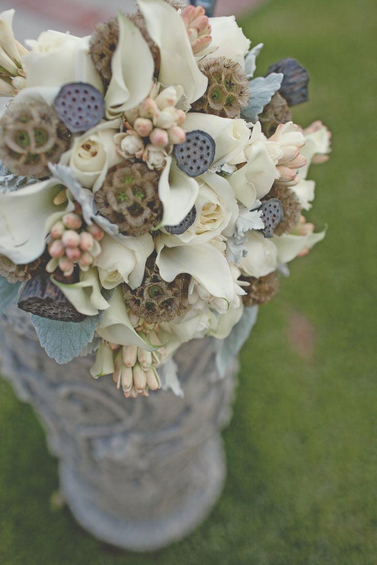 41 best bouquets and arrangements images on pinterest bridal bouquet by bunch studio roses mini callas dried lotus pods scabiosa pods dhlflorist Image collections