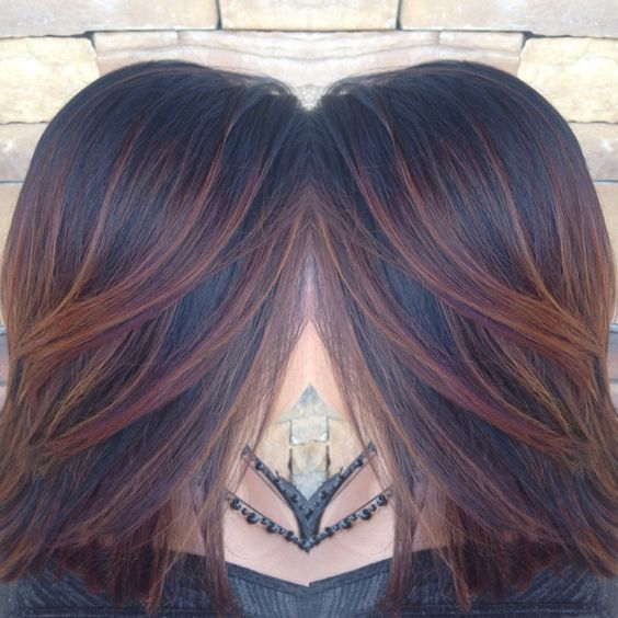 Dark Brown Hair with Auburn Highlights                                                                                                                                                                                 More