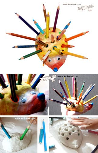 kids art materials:  Make a HEDGEHOG Pencil Holder