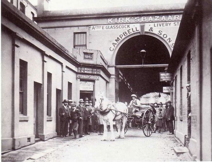 """Kirks Horse Bazaar at Bourke St West in Hardware Lane,Melbourne in Victoria in 1870.The business consisted of harness rooms,haylofts, granaries,farriers,saddlers and the """"bull ring"""" for unbroken horses.Hundreds of horses were auctioned every week and people would drive into town from country Victoria."""