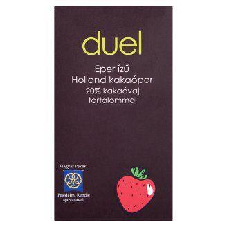 Duel eper ízű holland kakaópor, de kapható banános és narancsos ízű is. Sőt a Duel gyárt cukormentes instant kakaóport is. Eddig leginkább Tescoban találtam.
