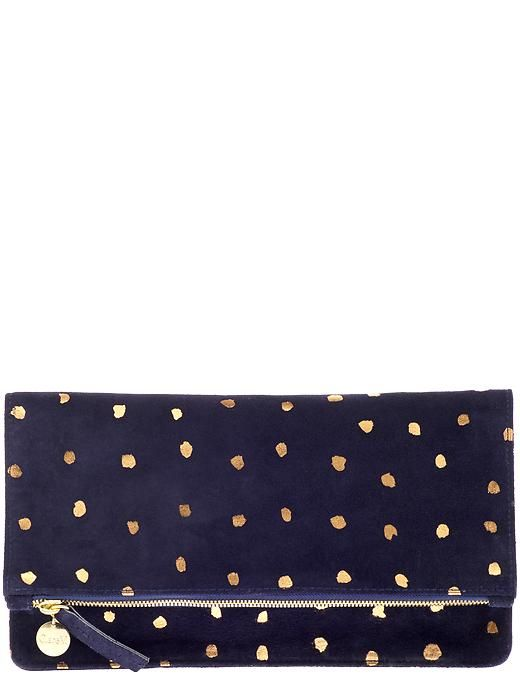 Clare V. Womens Foldover Clutch Size One Size - Navy Suede w/ Black Glossy & Matte Stripes