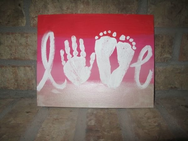 love canvas with handprint and foot prints   Beautiful canvas artwork to do with the kids' handprint and footprints ...