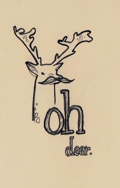 art, deer, doodles, drawing, mustache