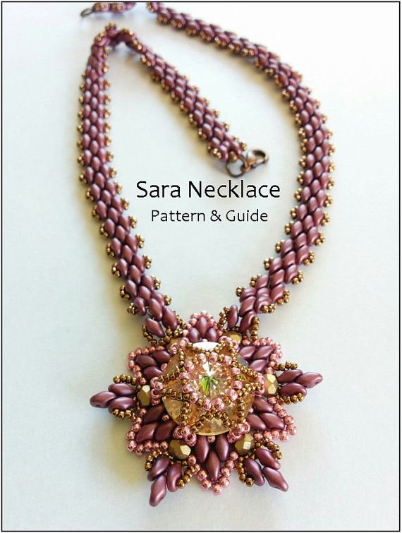 Star of David beading pattern, beaded pendant, necklace, PDF, superduo, rivoli 18 mm, instant download